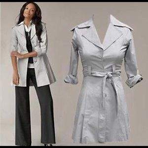 CABI XLarge Gray Long Belted Tench Coat 917